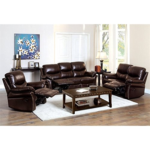 HOMES: Inside + Out Amandlah Bonded Leather Match 3 Piece Reclining Sofa Set, Rustic Dark Brown