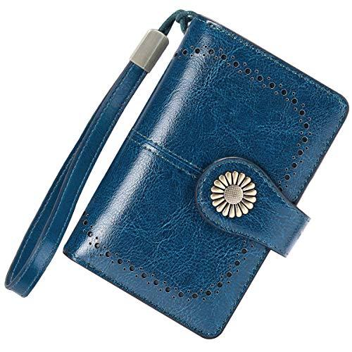 🥇 Cartera Mujer Mediana Bloqueo RFID Billeteras Mujer Piel Autentica con Cremallera