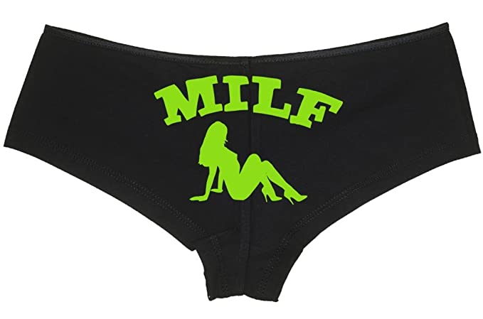 57260d901420 Knaughty Knickers Women's Milf Mud Flap Silhouette Hot Mom Sexy Boyshort  Small Black/Lime Green