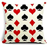 SUSYBAO Luxury Quality Cotton Linen Square Canvas Decorative Throw Pillow Cover Pack of 1 for 18 x 18 Pillow Inserts in Sofa Home Car Couch(Playing Card Pattern Style 4)