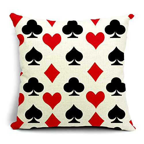 (SUSYBAO Luxury Quality Cotton Linen Square Canvas Decorative Throw Pillow Cover Pack of 1 for 18 x 18 Pillow Inserts in Sofa Home Car Couch(Playing Card Pattern Style 4))