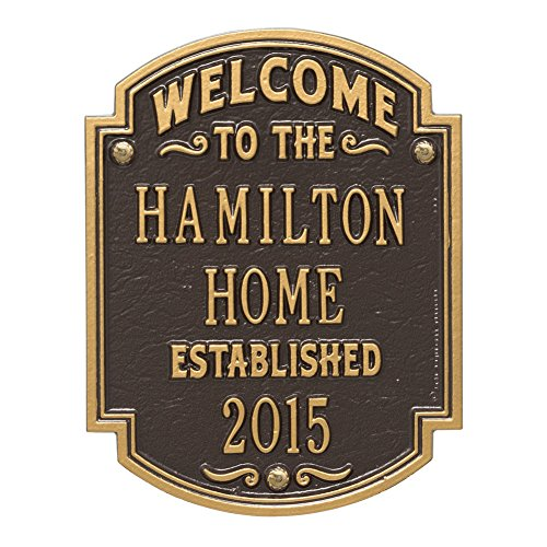 Whitehall Doors - Whitehall Personalized Welcome to Our House Custom Indoor/Outdoor Aluminum Wall Plaque - Bronze/Gold