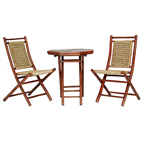Heather Ann Creations The Maui Collection Contemporary Style Bamboo Wooden 3-Piece Table and Chairs Outdoor Patio Bistro Dining Set, Brown -