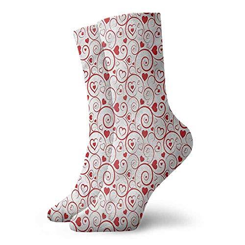 Hip Hop Street Style Sock Love,Ornamental Hearts and Swirls 3.4