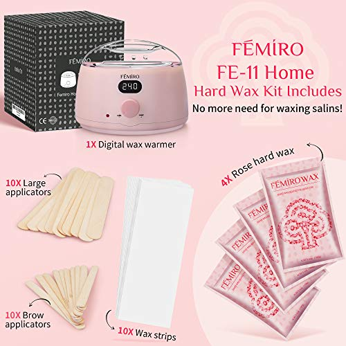 Femiro Waxing Kit, FE-11 Digital Wax Warmer Kit for Coarse Hair Removal, Home Wax Kit with Brazilian Formulas Hard Wax Beads for Bikini Brazilian Legs Armpit Face Full Body Waxing