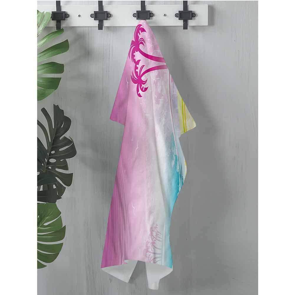 dsdsgog Flowered Luau,Fantasy Beach Island Coast,W28 xL51 Beach Towel for Boys