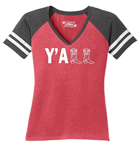 T-shirt Womens Cowboy V-neck (Ladies Game V-Neck Tee Y'all Cute Western Southern Country Cowgirl Cowboy Boots Heathered Red/Heathered Charcoal L)