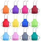 Senfhome 12 Pack 12 Colors Children's Artists Aprons,Non-woven Fabric Aprons for Kitchen, Classroom, Community Event, Crafts & Art Painting Activity