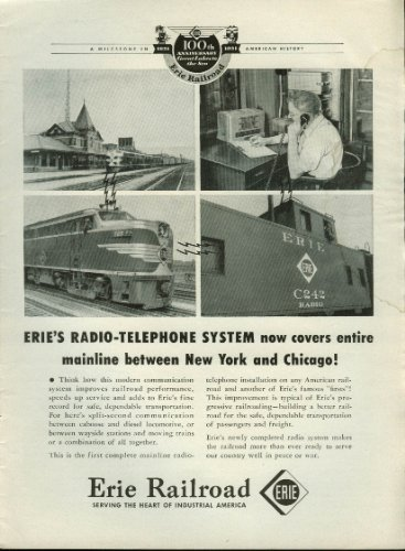 Erie Railroad radio-telephone system covers New York to Chicago ad 1951