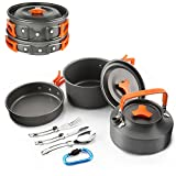 kettle backpacking - FLYTON Camping Cookware Outdoor Cooking Mess Kit Portable Lightweight Pots Pans Water Kettle Set for Backpacking Hiking Trekking Picnic Fishing Mountaineering