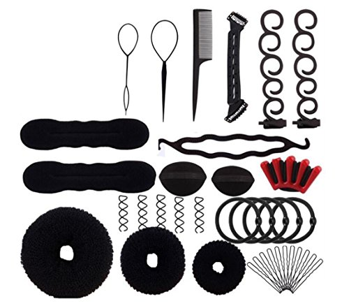 1Set 12 Different Styles Professional Hair Styling Tools-Hair Volume Bump it Up Hair Tie Hair Pin Hair Clip Bun Maker Pull Hair Needle Donut Braiding Tool Kit Hair Styling accessories by Elandy