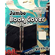 """Jumbo Book Cover - Black Color Premium Edition Super Stretch XXL - Fits 10"""" X 15"""" Textbooks - by It's Academic"""