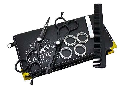 "Price comparison product image Hairdressing Scissors 5.5"" Barber Hair Cutting Thinning Salon Scissors Shears Black Colour with Fine Adjustment Screw By CANDURE"