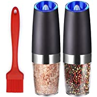 Premium Electric Salt and Pepper Grinder Set Battery Operated with Advanced Nano-Ceramic Grinder and Blue LED Light One…