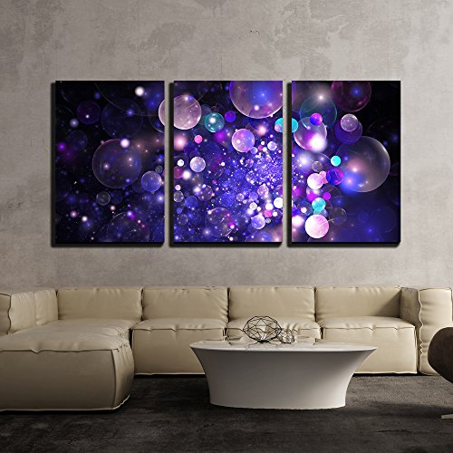 (wall26 - 3 Piece Canvas Wall Art - Abstract Glowing Purple and Blue Bubbles on Black Background. Fractal Art - Modern Home Decor Stretched and Framed Ready to Hang - 16