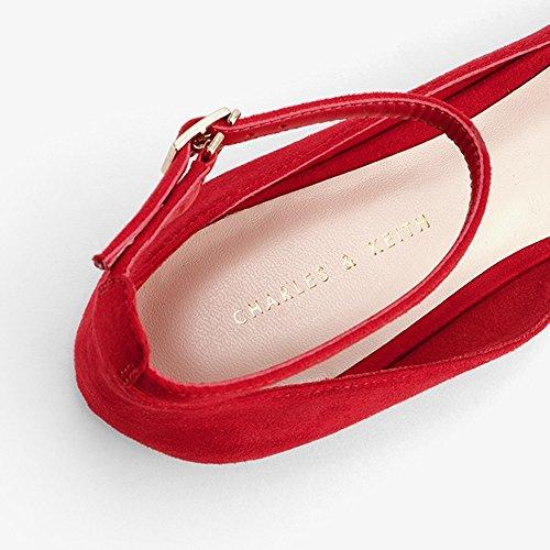 Hebilla UK5 Chica Rojo Negro Planos De Color Dama YQQ Tacones Zapatos Verano Acogedor Sandalias Tamaño Individuales Bajos Moda Zapatos De 5 EU38 Joven Zapatos Mujer BSHvSqT