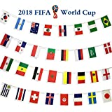 """PAKEON 2018 FIFA World Cup String Flag Banner,5.5"""" x 8.2"""" Russia Football Game Top 32 Country Flags,For Fan Clubs,Bar Party,KTV,Sports,Restaurants,Game Night Decorations"""