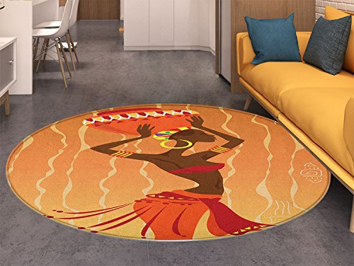 (African Round Area Rug Carpet Vintage Tribal Art Stylized Girl in Ritual Ceremony Traditional Fashion Image Living Dinning Room and Bedroom Rugs Orange Amber)