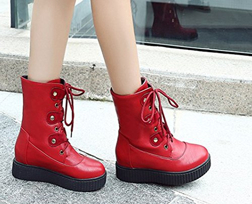 wholesale dealer 5cb88 8ded8 Plateforme Femme Rouge Rétro Bottines Tige Aisun Courte Rang