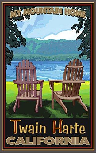 Twain Harte, California Adirondack Chairs Lake Travel Art Po