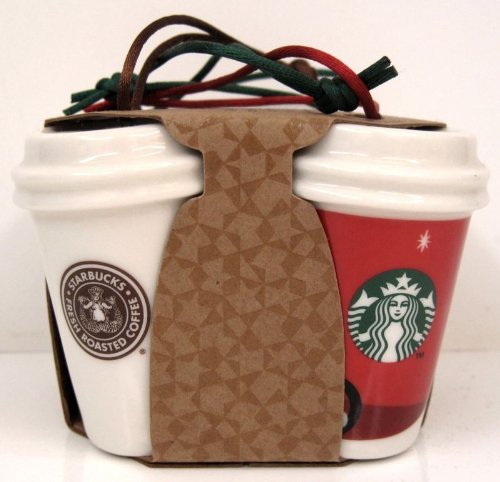 Starbucks Holiday Christmas Ornament 2011 Coffee Cups Mugs, Pack of 4 ()