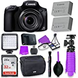 Canon Powershot SX60 16.1MP Digital Camera 65x Optical Zoom Lens 3-inch LCD Tilt Screen (Black) & LED Video Light, 32GB Sandisk Memory Card, Extra Battery + Accessory Bundle