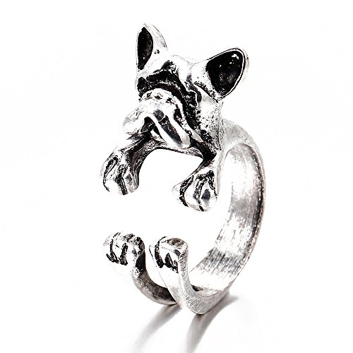 Winter's Secret Fashion Bulldog Pattern Open Alloy Unisex 3D Animal Ring Silver - Shape Profile Facial