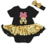 Petitebelle Pink Bow Bunny Black Bodysuit Gold Snowflake Baby Dress Nb-18m (Black, 0-3 Months)