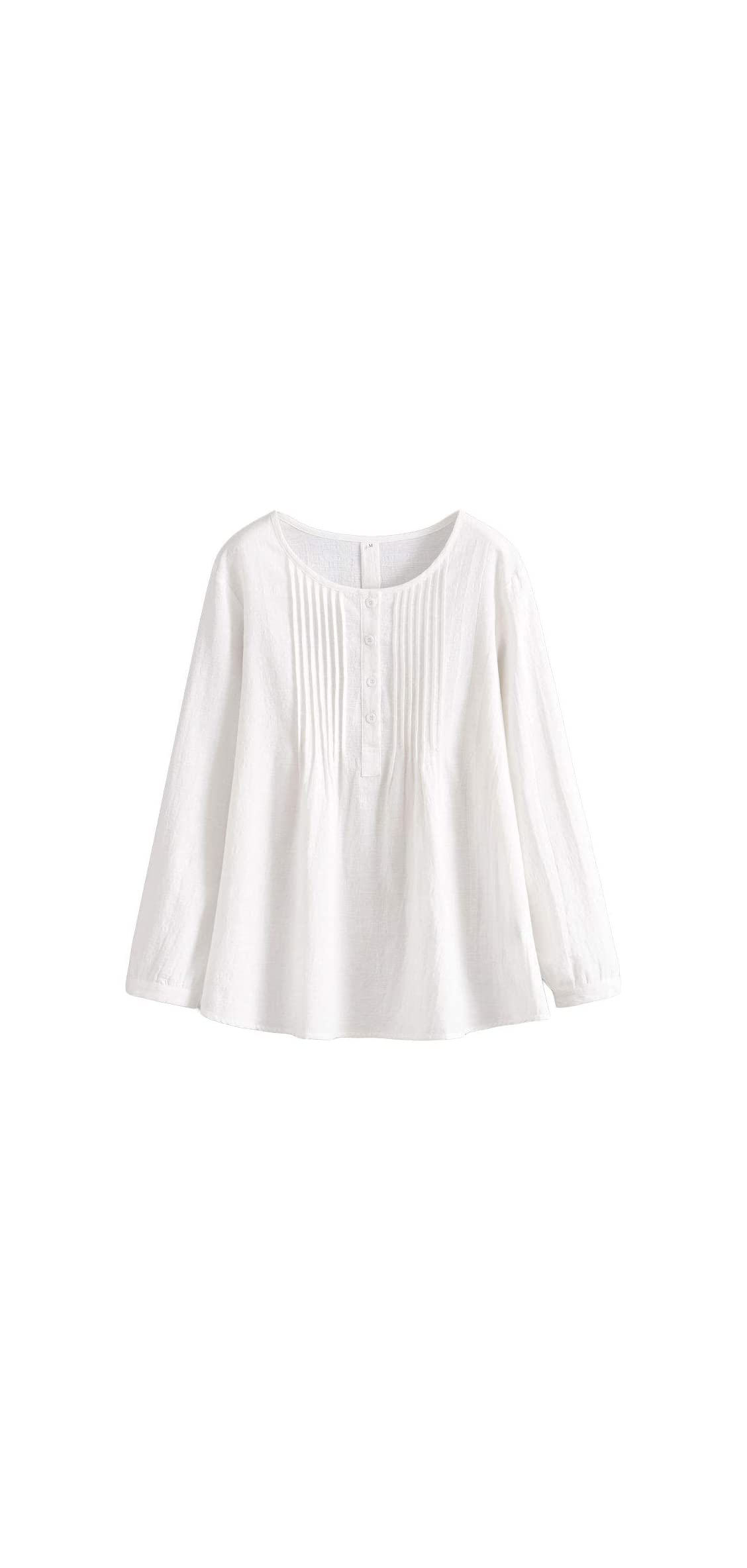 Women's Scoop Neck Pleated Blouse Solid Color Lovely