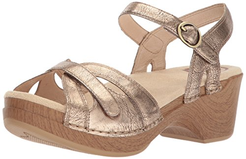 Crinkle Leather Heels - Dansko Women's Season Sandal, Gold Crinkle, 42 M EU (11.5-12 US)
