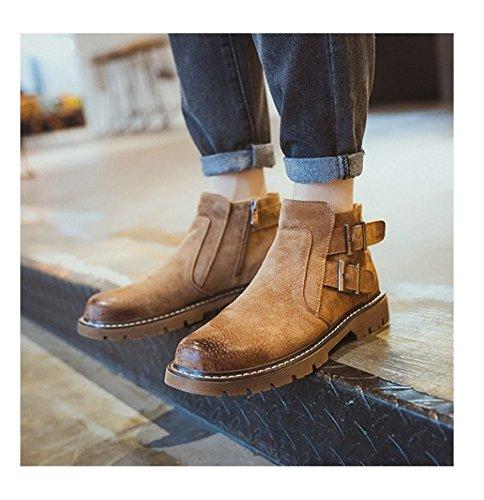 HL-PYL - Europäische und Amerikanische High Schuh Männer Schuhe Freizeit runden Kopf Reißverschluss Füße Leder Stiefel 44 gelblich braun