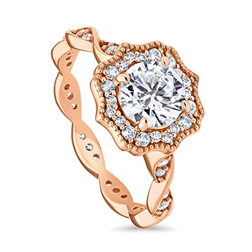 BERRICLE Rose Gold Plated Sterling Silver Round Cubic Zirconia CZ Art Deco Halo Milgrain Promise Engagement Ring 1.41 CTW Size 4.5 Art Deco Engagement Ring Settings