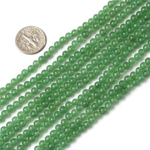 Gem-Inside 4mm Round Light Green Jade Beads Strand 15 Inches (Light Green Jade Bead)