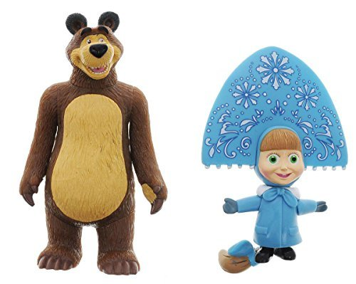Masha and the Bear - set of 2 moveable figures toy russian doll Masha's tales birthday party, the perfect choice would be funny! by Multi-Pulti