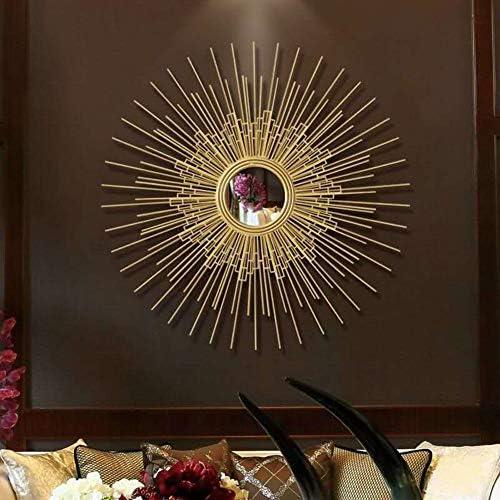 装飾的な壁の鏡、丸いレトロな黄金の鏡、鉄の太陽の壁に取り付けられた鏡、リビングルーム、ポーチ、廊下に適しています