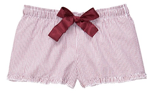 Hometown Clothing HTC Set: Boxercraft Ruffled Seersucker PJ Short & HTC Garment Guide, Maroon-S (Ribbon Tie Shorts)