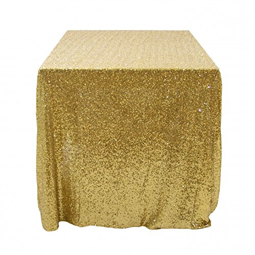 Koyal Wholesale 405002 Rectangle Sequin Tablecloth, 90 by 132-Inch, Gold