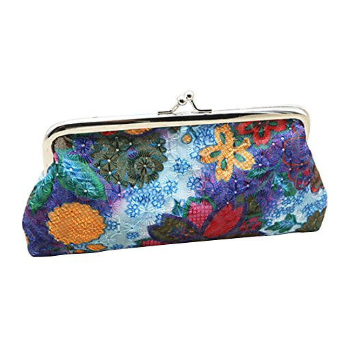 Pouch Clutch Purple Coin Useful Embroidery Hasp Flower Bag Handbag Women's Purse Wallet Money Orange OxO8Iw1