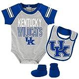 Outerstuff NCAA Kentucky Wildcats Newborn & Infant Blitz Bodysuit, Bib & Booties, Heather Grey, 3-6 Months
