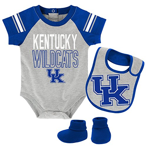 "OuterStuff NCAA Kentucky Wildcats Children Boys""Blitz"" Onesie, Bib & Bootie Set, 3-6 Months, Heather Grey"