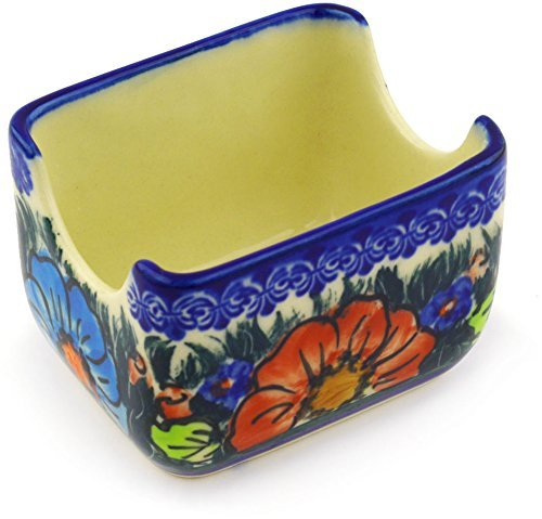Polish Pottery Sugar Packet Holder 3-inch Butterfly Splendor UNIKAT