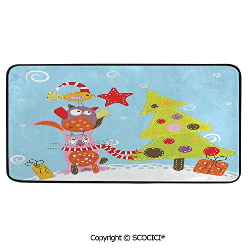 Rectangle Rugs for Bedside Fall Safety, Picnic, Art Project, Play Time, Crafts, Large Protective Mat, Thick Carpet,Christmas,Funny Cartoon Stylized Cat Owl and a Bird Best Animals,39