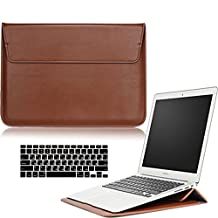 Macbook Air 13'' Sleeve Case and Keyboard Protector, AICOO YCL Ultrathin Business Message Carrying Bag Case Cover With Stand For MacBook Air 13.3 inch (A1466/A1369), Brown