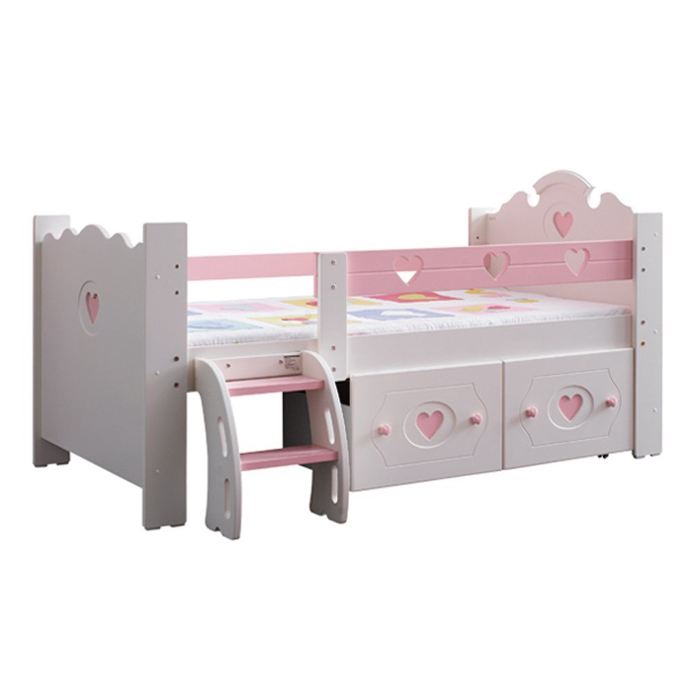 YJBE Hochbett mit Treppen Schublade Möbel Kinderzimmer Prinzessin Ozean Stil (Prinzessin)