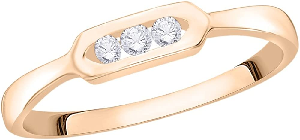 1//10 cttw, Size-8.5 3 Diamond Promise Ring in 10K Pink Gold G-H,I2-I3