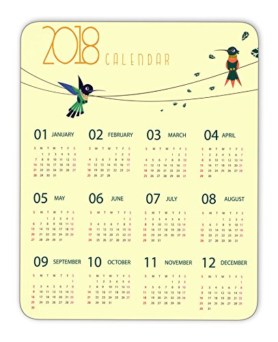 2018 calendar and cute birds mouse pad, Natural Rubber Mouse Pad, Quality Creative Wrist-protected Wristbands Personalized Desk, Mouse Pad (9.5 inch x 7.9 inch)