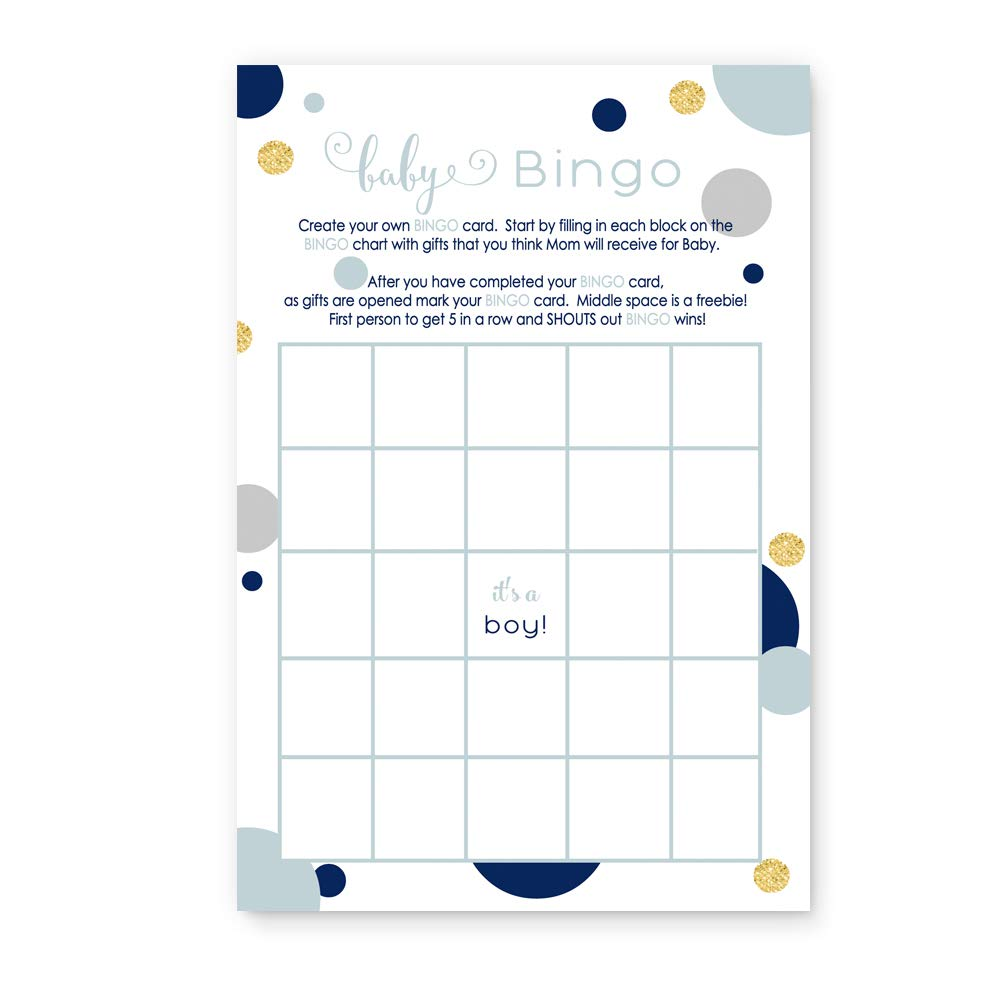 Navy and Gold Bingo Baby Bingo Game Cards Set of 25 - Boys Stylish Shower Ideas