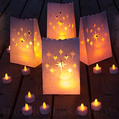 Frux Best Flameless Tealights + Bonus Luminary Bag Set, 24 Battery Operated LED Tea Lights & 12 Star Luminary Bags, Fake Candles with Realistic Flame, 80+ Hours of Safe LED Flamesless Candlelight