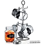 4 Glass Mason Jars with Lids, Metal Stand, Chalk labels & Chalk Marker - 16-oz Clear Chalkboard Mugs with handles on space-saver caddy