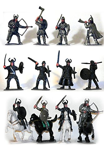 Plastic Toy Soldiers Medieval Vikings Painted Figure Set No.1 1/32 Scale 16 Pieces with Horses and Weapons! Marx Type Army Men Figures by Sunjade (Viking Plastic)